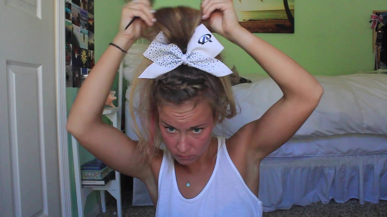 Braided competition cheer hair - YouTube