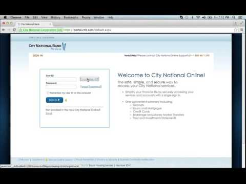 City National Bank Online Banking Login Instructions