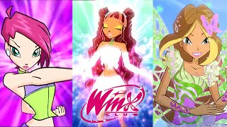 Repeat youtube video Winx Club: All Transformations Up To Butterflix!