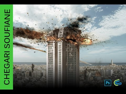 Meteorite hits twins center Building Casablanca - Speed Art - Photoshop