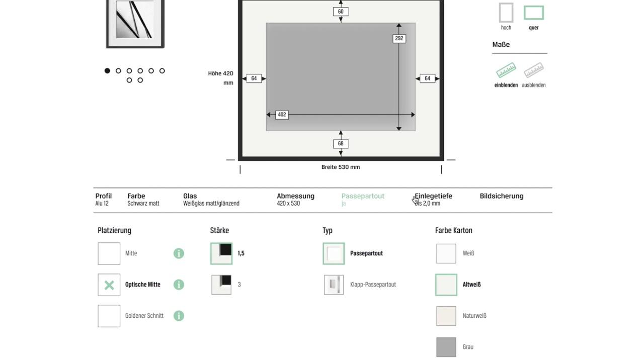 Bilderrahmen Konfigurator von HALBE-Rahmen - YouTube