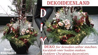 DIY Christmas Planters for front porch/ door l HOW TO l DekoideenLand
