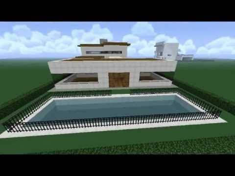 Minecraft casa moderna com garagem e piscina youtube for Piscinas modernas