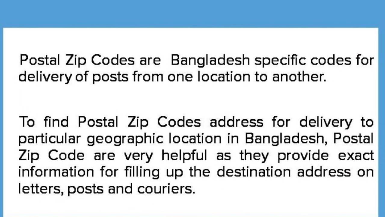Bangladesh Zip Codes YouTube - Us zip code for apple id