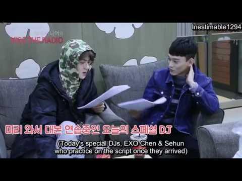 161111 (EXO) Sehun and Chen - Super Junior kiss the Radio (behind cam)