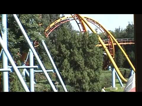Loop and Corkscrew Togo Roller Coaster POV Beijing Amusement Park China