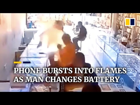 Phone bursts into flames as man in China tries to change battery