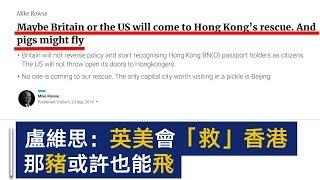卢维思:或许英国和美国会来救香港,就如猪也可能会飞一样 | CCTV