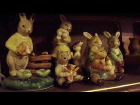 vintage collectable golden rose pottery of rabbits and mice like royal doulton beatrix potter