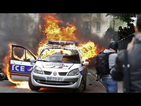 حرق سيارة للشرطة