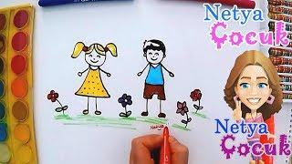 Çocuk Nasıl Çizilir?  Kız ve Erkek Çocuğu Çizimi  Netya Çocuk Kolay Resim Çizme