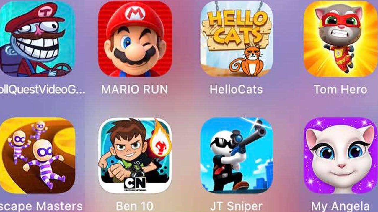 Troll Quest VIdeo Games 2,Tom Hero,My Angela,JT Sniper,Ben 10,Escape Masters,HelloCats,Mario Run