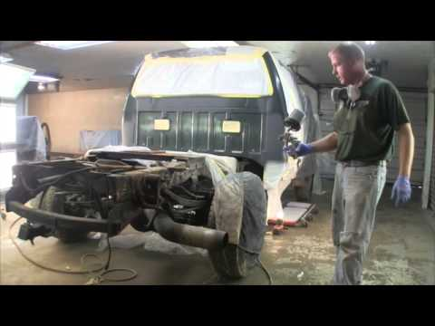Auto Painting the cab repairs on the 02 Ford Super duty
