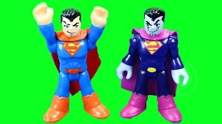 Imaginext Bizarro tries to destroy Rescue squad town Superman saves the day robot toy stories