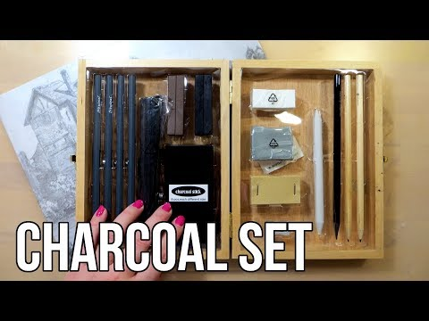 Unboxing Charcoal Drawing Set || Lidl Art Supplies