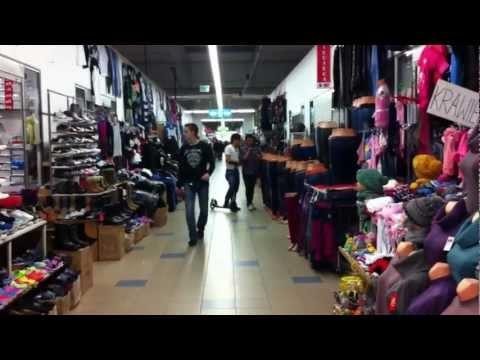 Street Marywilska 44. Shopping in a big supermarket. Warsaw. Poland.