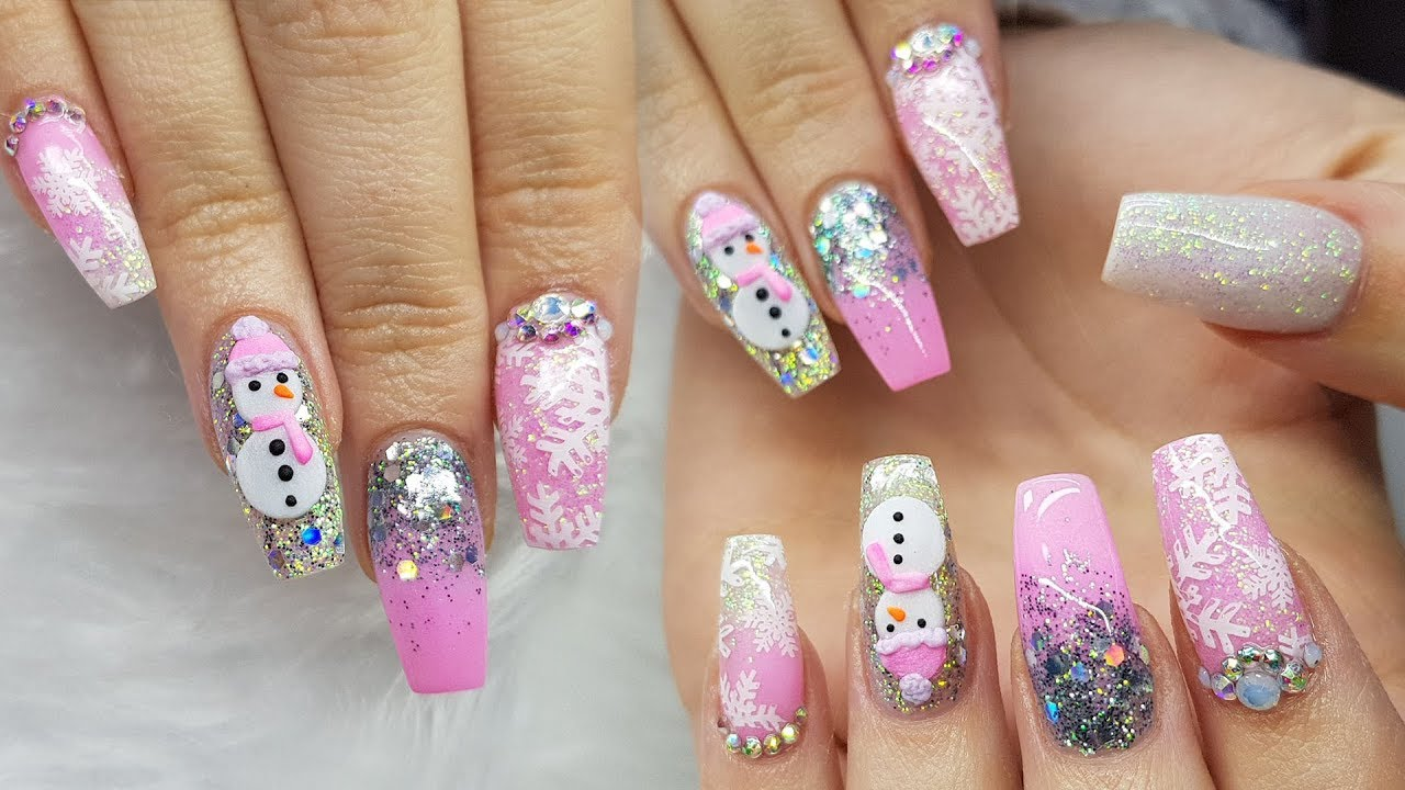 Acrylic Nails Pink Nails Not Polish Stamping 3d Nail Art