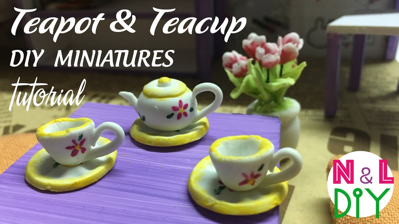 diy miniature teapot teacup japanese clay tutorial n l diy youtube