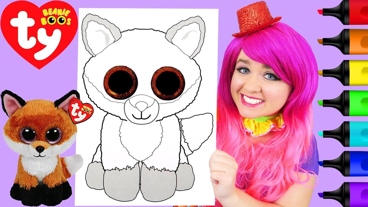 Coloring Ty Beanie Boos Fox Slick Coloring Page Prismacolor Markers | KiMMi THE CLOWN