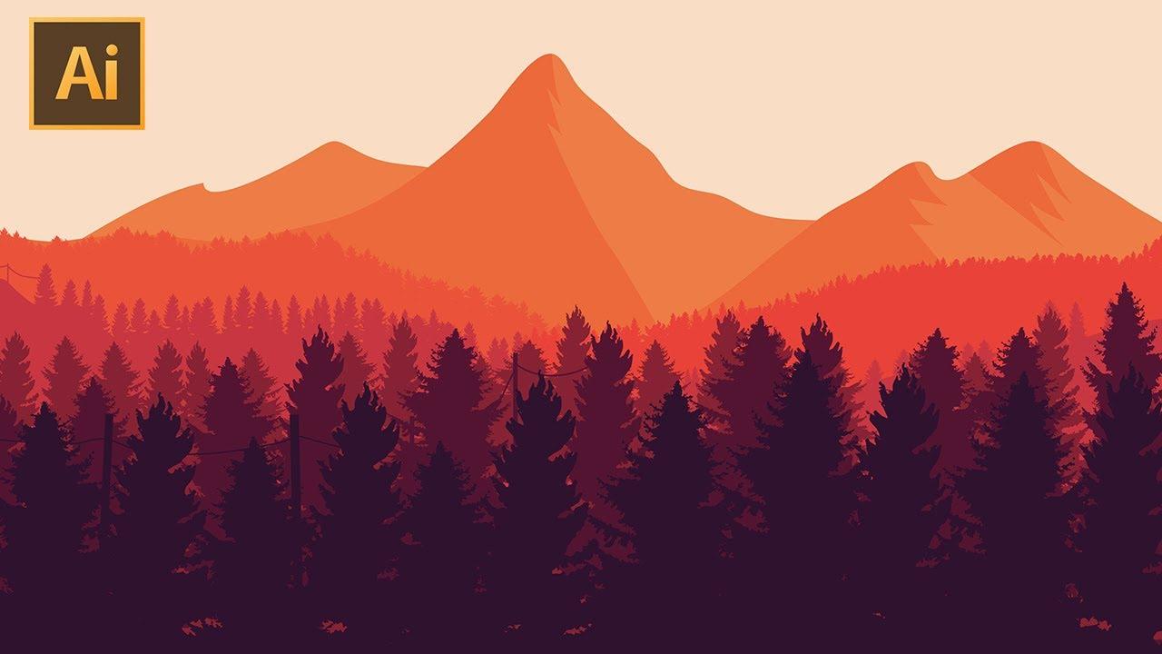 Landscape Illustration Vector Free: Adobe Illustrator Tutorial: How To Make A Flat Vector
