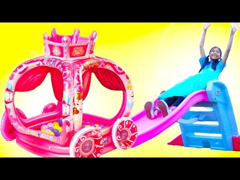 Wendy & Liam Pretend Play with Princess Carriage Slide Inflatable Toy