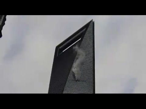 Smoke Billowing out of Shanghai's World Financial Centre