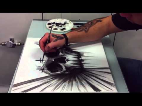 Brent Sims Time-lapse Skull Painting Tattooist