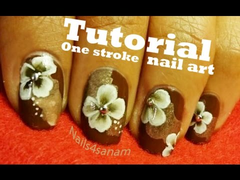 Tutorial | Brown floral nail art one stroke technique