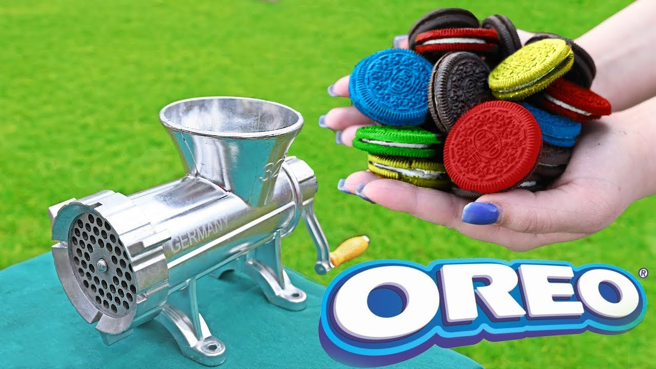 EXPERIMENT COLORFUL OREO VS MEAT GRINDER