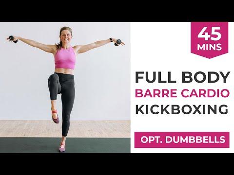 45-Minute Barre Cardio Full Body Kickboxing Workout (optional light dumbbells)