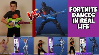 TOP 10 FORTNITE DANCES IN REAL LIFE! FORTNITE DANCE CHALLENGE in REAL LIFE! RUBY AND JONAH