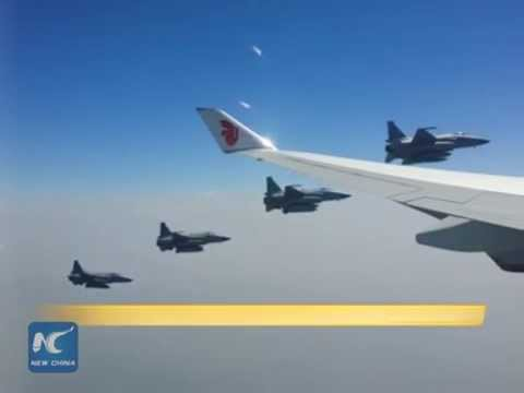 RAW: Pakistani fighters escort Chinese leader's plane