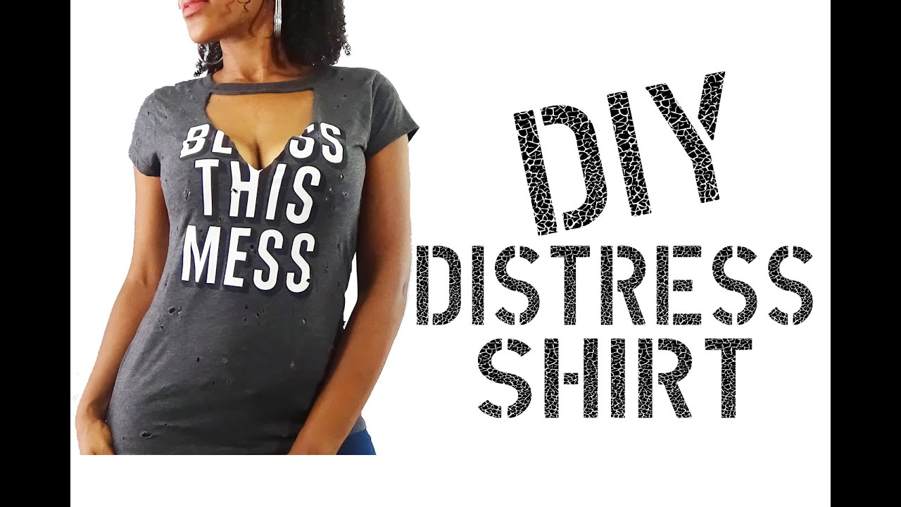 Diy how to distress shirt youtube for How to make a distressed shirt