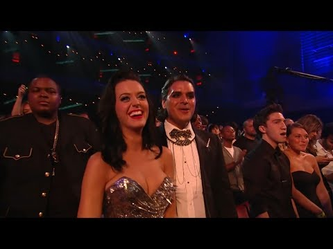 Katy Perry dances during Taylor Swift's perfromance