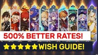 Wish Gacha Rate/Pity Revealed! 50-500% Better Rates On Single Rolls!! | Genshin Impact screenshot 1