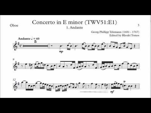 Telemann Oboe Concerto E minor 1. Andante . Play along accompaniment.