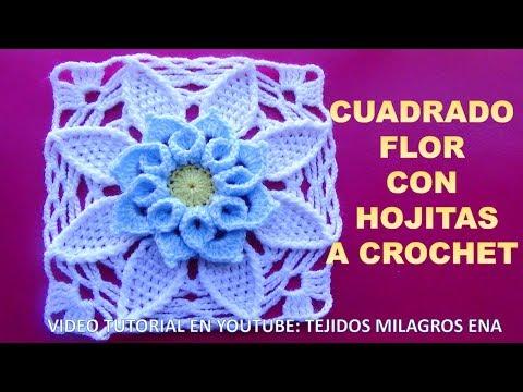 Cuadrado Flor Crochet Con Hojitas Paso Paso En Tutorial