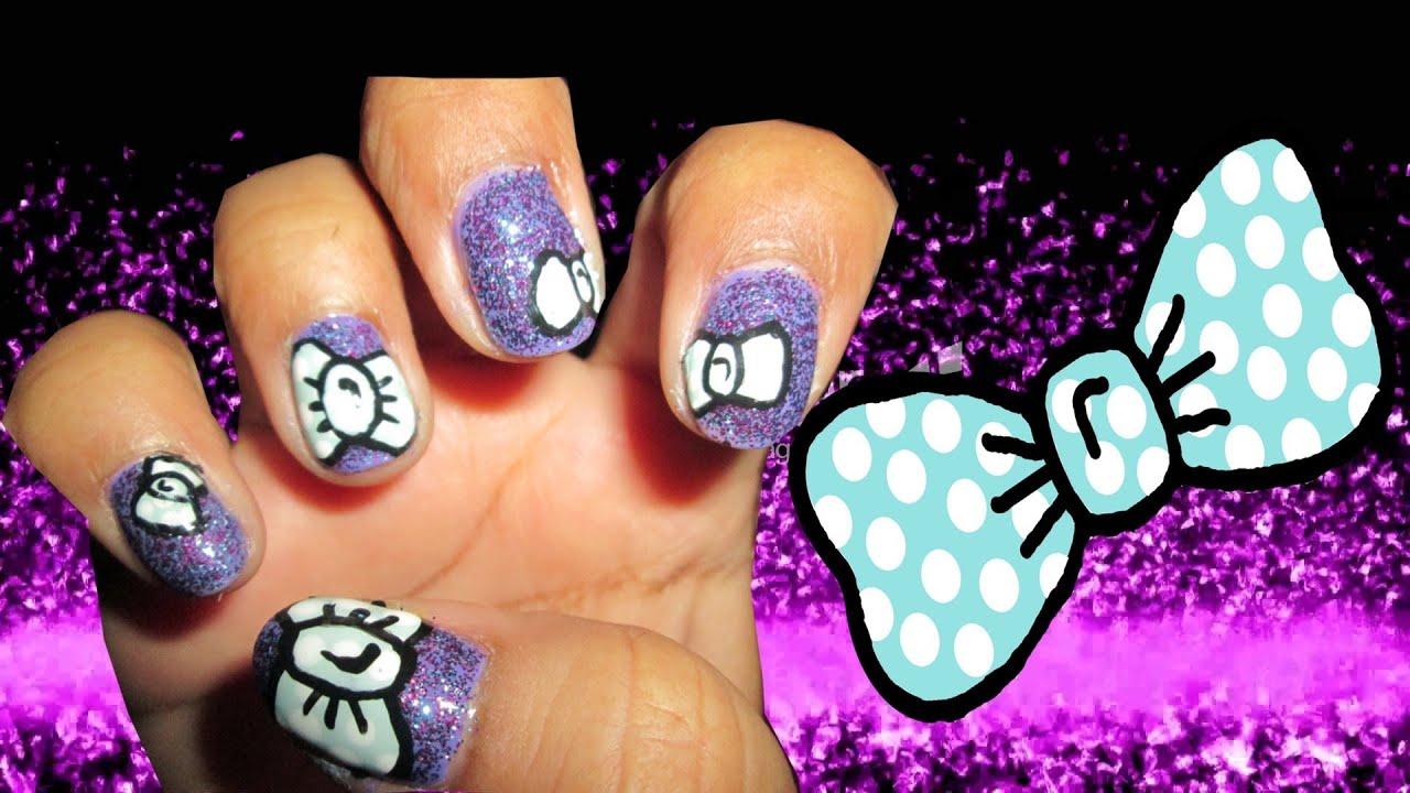 bow and diamond purple nail art youtube