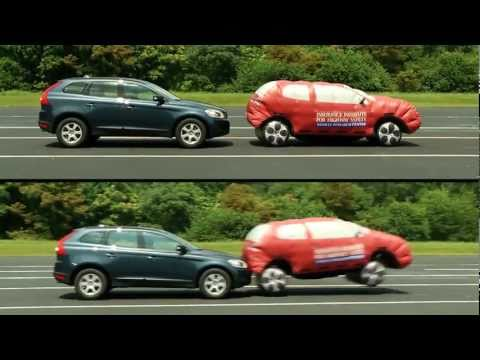 ► Demonstration of Volvo's City Safety automatic braking system 10 mph
