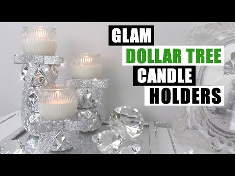GLAM DIY DOLLAR TREE CANDLE HOLDERS DIY Bling Home Decor