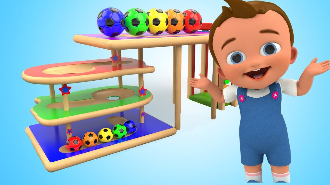 Tumbling Color Soccer Balls Slider Wooden Toy Learn