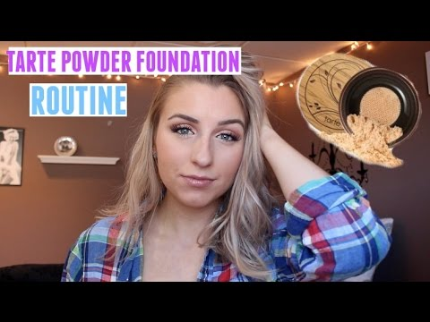 Tarte Powder Foundation Routine! Dry, Acne Scarred Skin
