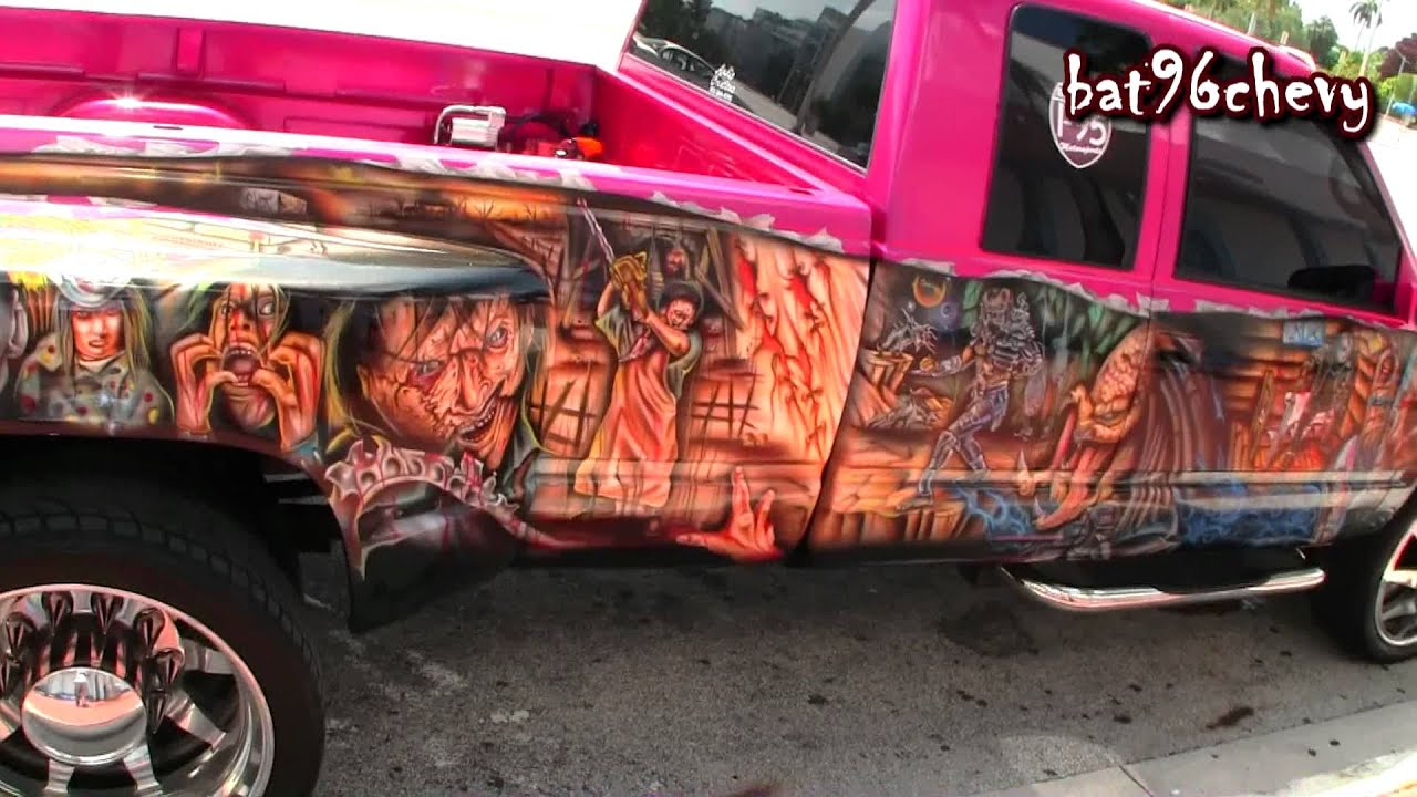 PINK Chevy Dually Truck CUSTOM GRAPHICS PAINT JOB On Dually - Custom graphics for trucks