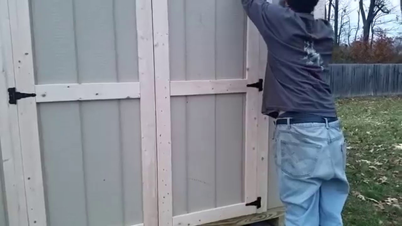 8x12x8 a frame shed tutorial part 32 setting doors and. Black Bedroom Furniture Sets. Home Design Ideas