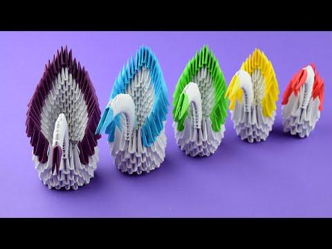Семья лебедей (Лебеди из бумаги). Модульное оригами. Пошаговая сборка, мастер класс.
