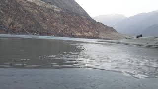 The Gilgit indus river beautifull black and white rocks