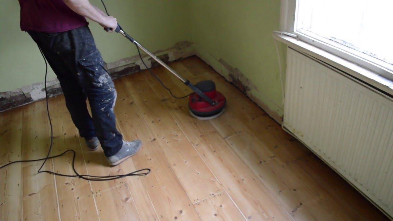 Wood Pine Floor Buffing Sanding Between Coats Of Varnish, How To   YouTube