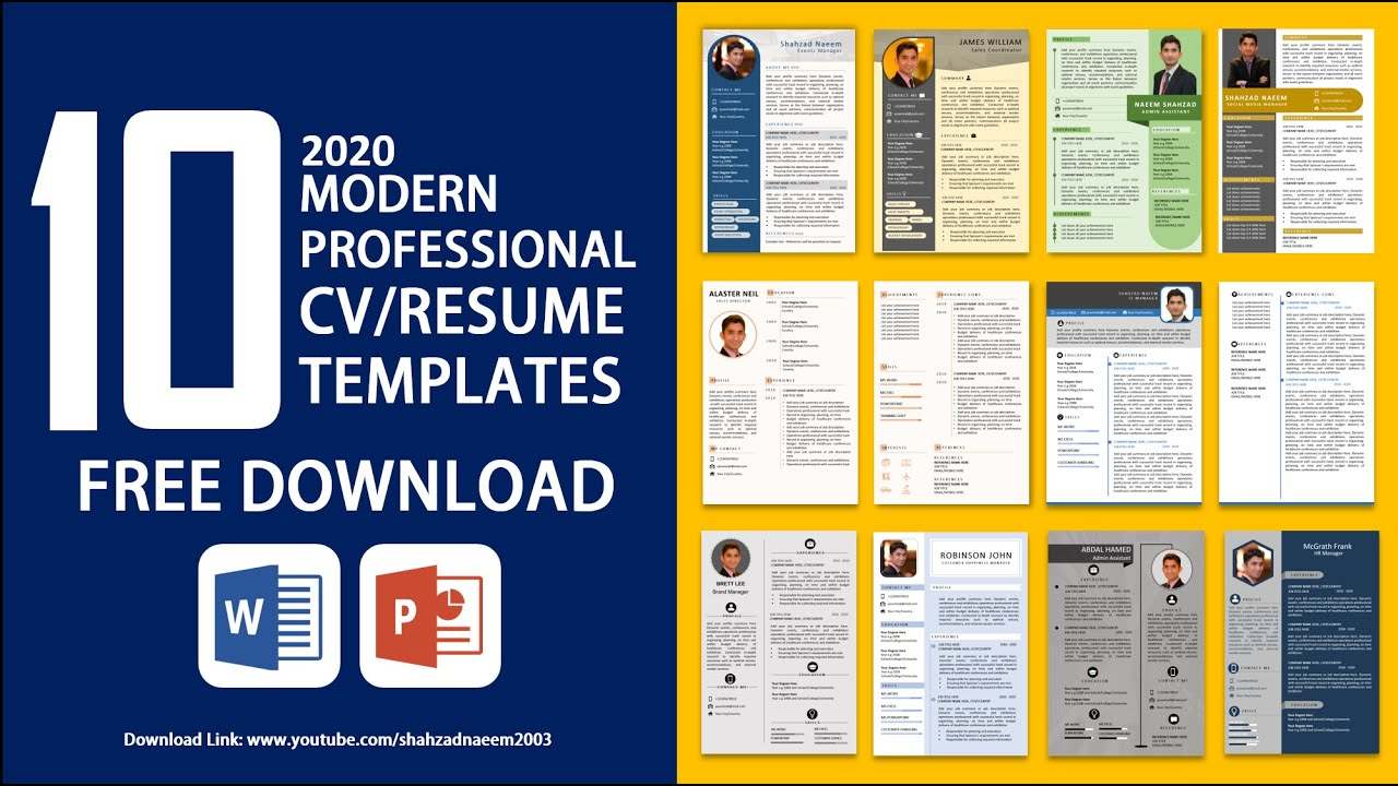 10 Best Resume Templates 2020 Free Download Resume Formats Resume Designs Powerpoint Crafts Youtube