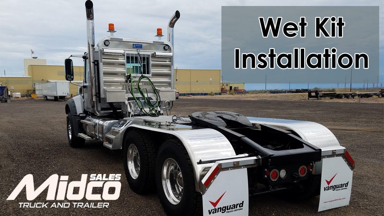 small resolution of custom wet kit installation on mack truck