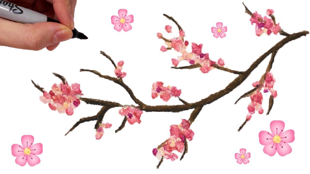 Comment Dessiner Facilement Une Branche De Cerisier Japonais Au Pastel A L Huile Arbre Sakura Youtube
